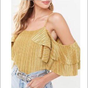 NWT Golden Flirty Top